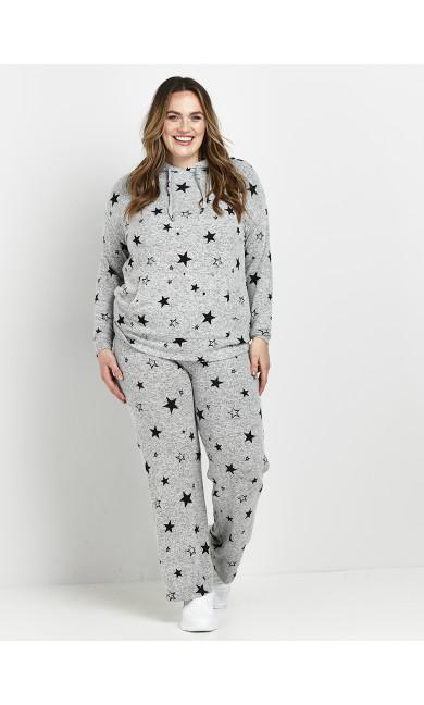 Star Print Hoodie - grey