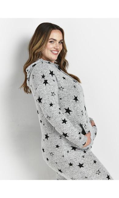 Grey Star Print Hoodie