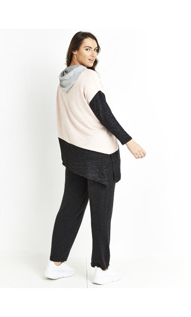 Asymmetrical Soft Touch Hoodie - pale pink