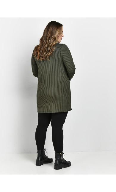 Khaki Ribbed Buttoned Top
