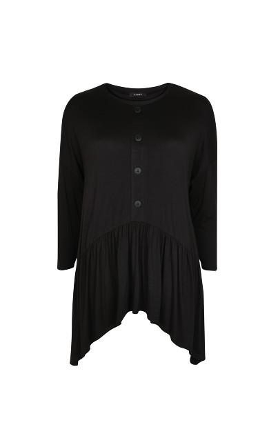 Button Detail Tunic - black