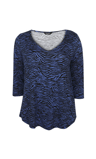 Blue Animal Print Long Sleeve Top