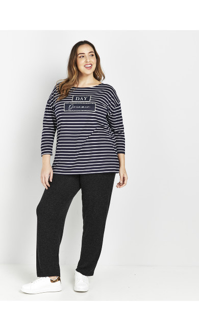 Navy 'Day Dreamer' Stripe T-Shirt