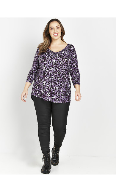 Purple Animal Print Top