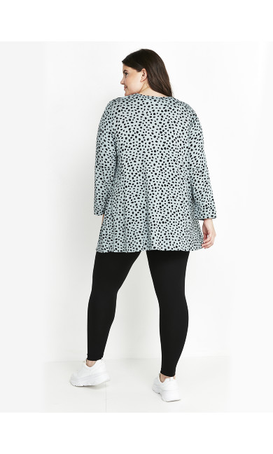 Green Printed Button Top