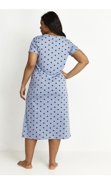 Star Print Sleep Dress - blue