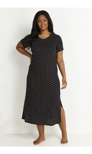 Blush Spot Sleep Dress - black