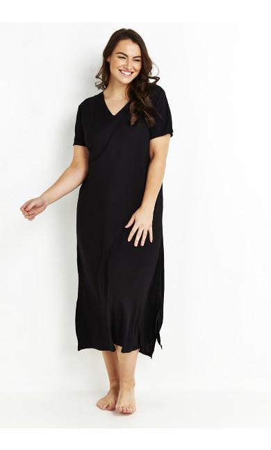 V-Neck Maxi Sleep Dress - black