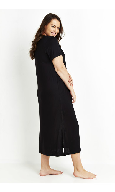 V-Neck Maxi Sleep Dress - black