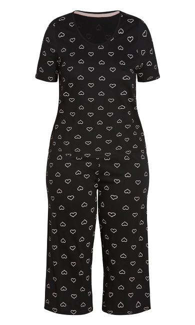 Heart Cropped PJ Set - black