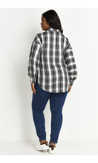 Mono Check Shirt - white