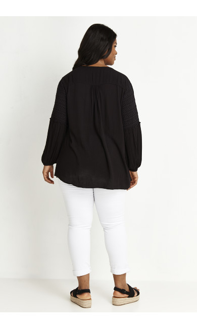 Embroidered Detail Top - black