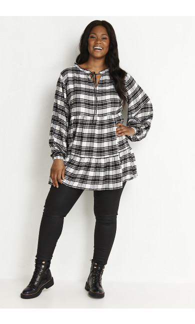 Mono Check Tunic - white