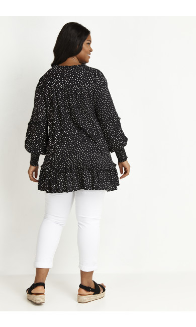 Heart Print Tunic - black