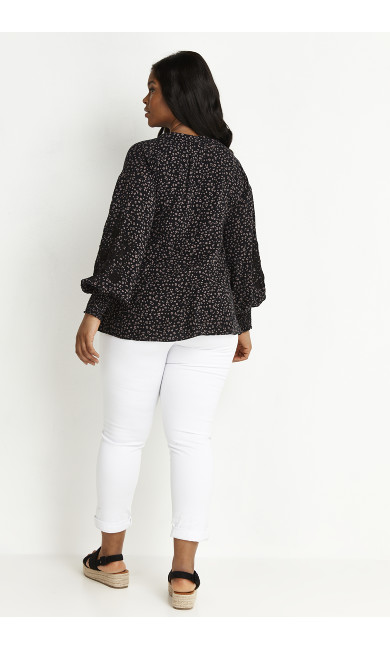 Animal Puff Sleeve Top - black