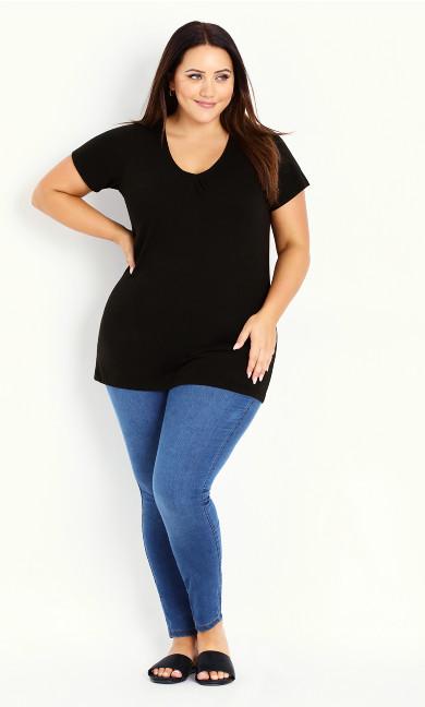 Black V-Neck Cotton T-Shirt