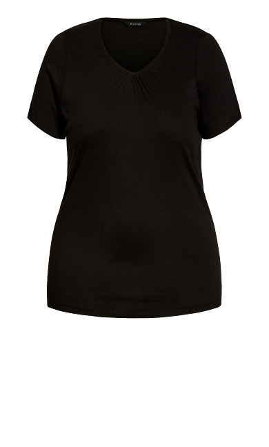 V Neck Short Sleeve Tee - black