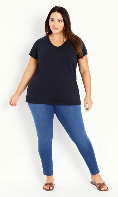Navy Blue V-Neck Cotton T-Shirt