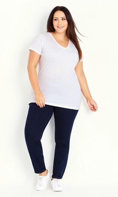White V-Neck Cotton T-Shirt