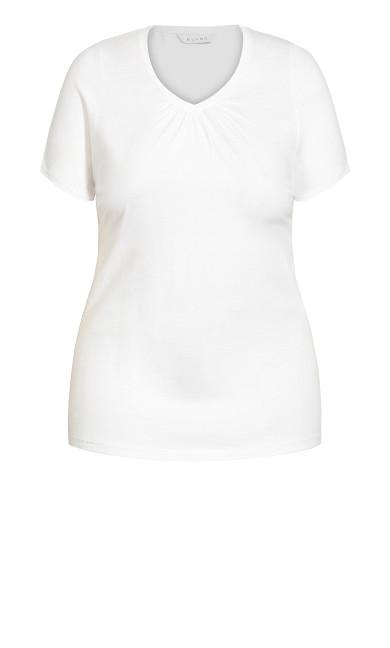 V Neck Short Sleeve Tee - white
