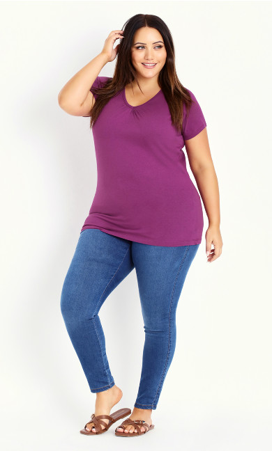 V Neck Short Sleeve Tee - purple