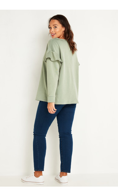 Ruffle Sweatshirt - green