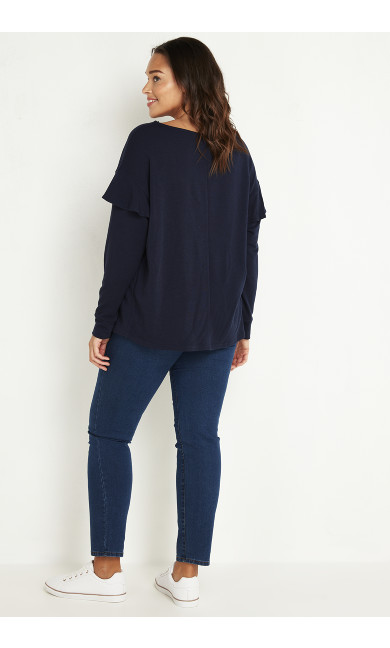 Ruffle Sweatshirt - navy
