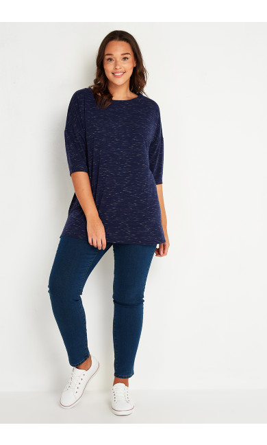 Elbow Sleeve Tee - navy marle