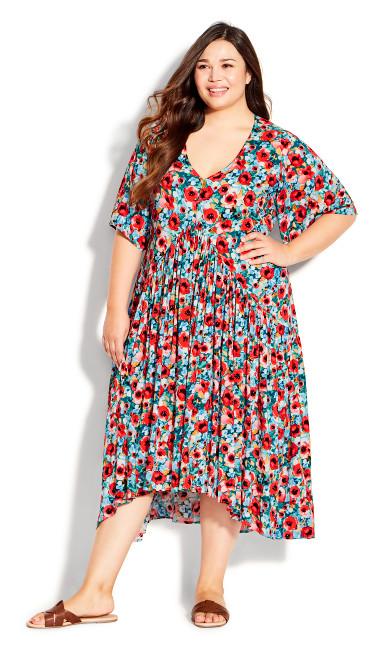 Plus Size Val Print Dress - poppy