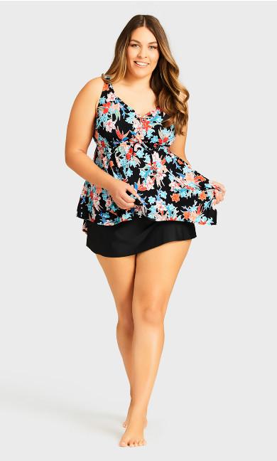 Flare Knit Swim Skirt - black