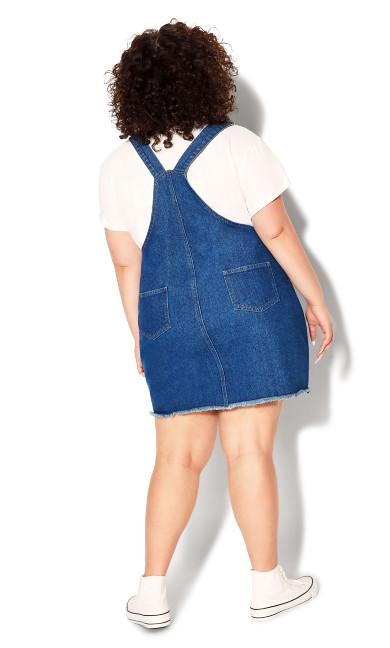 Denim Pinafore Dress - mid wash