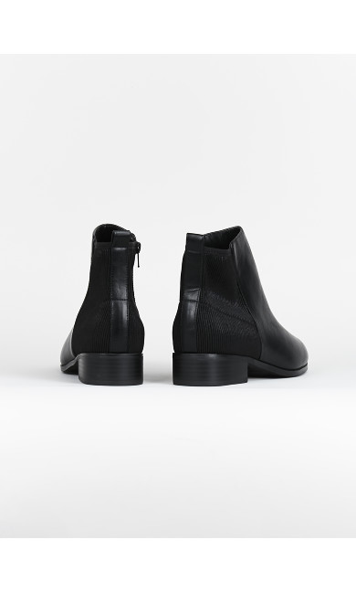 EXTRA WIDE FIT Black Stretch PU Ankle Boots