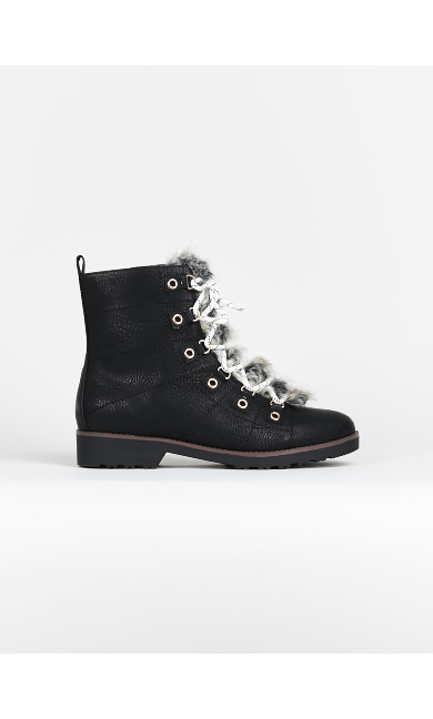 EXTRA WIDE FIT Black Faux Fur Hiker Boots