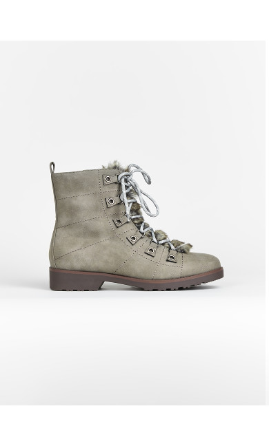 EXTRA WIDE FIT Grey Faux Fur Hiker Boots