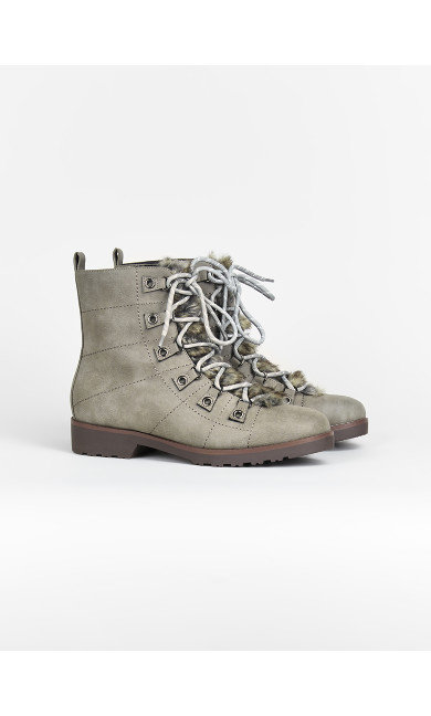 EXTRA WIDE FIT Faux Fur Hiker Boots - grey