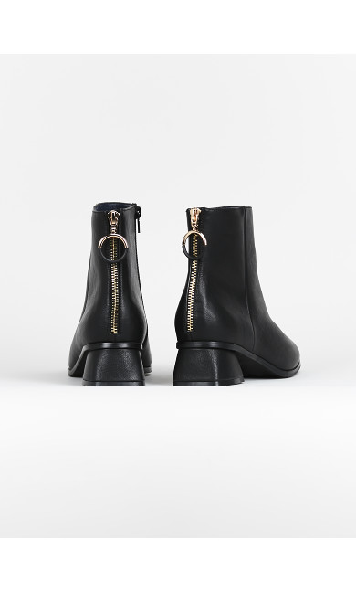 EXTRA WIDE FIT Black Ring Zip Ankle Boots