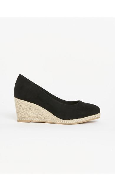 WIDE FIT Black Wedge Heel Court Heels