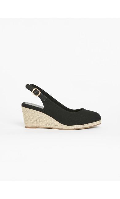 EXTRA WIDE FIT Black Espadrille Wedge Heels