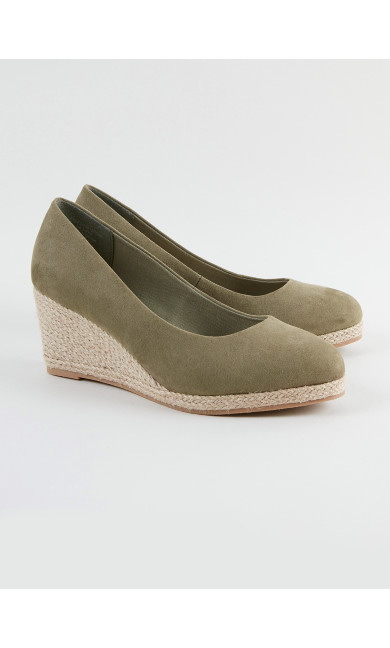 EXTRA WIDE FIT Green Wedge Court Shoes