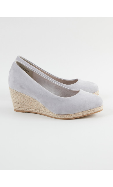 EXTRA WIDE FIT Grey Wedge Court Shoes