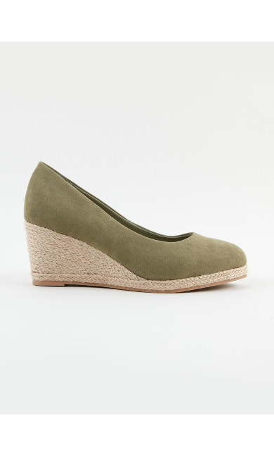 WIDE FIT Green Wedge Court Shoes