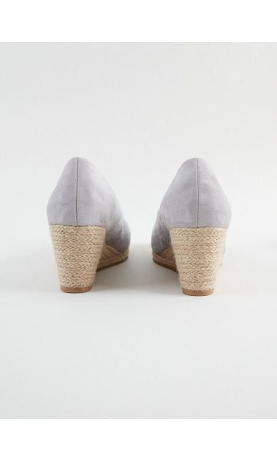 WIDE FIT Grey Wedge Court Shoes