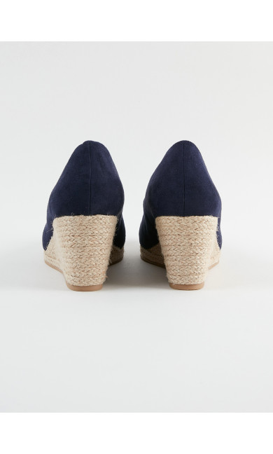 EXTRA WIDE FIT Navy Blue Court Shoes