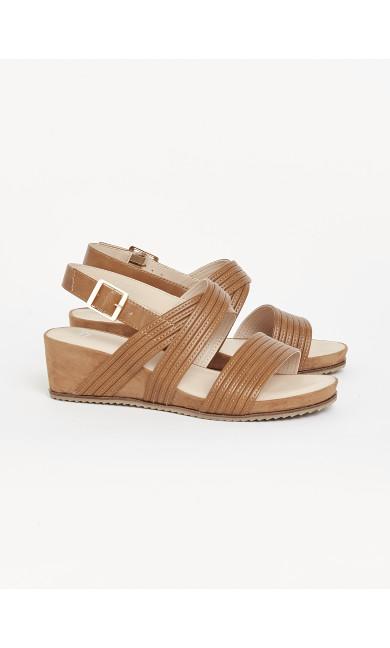 EXTRA WIDE FIT Tan Mid Heel Comfort Wedges