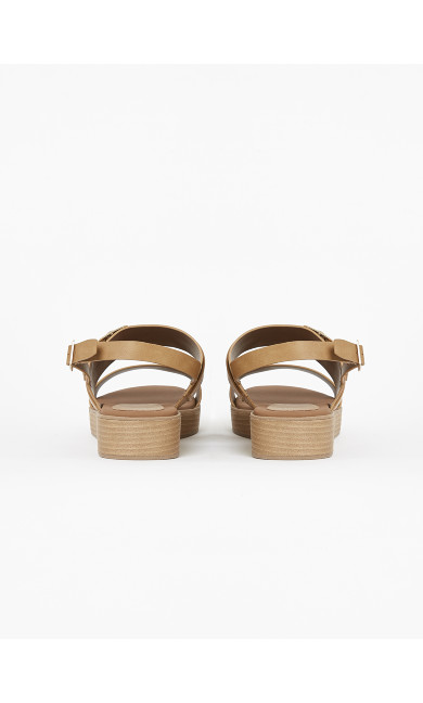 EXTRA WIDE FIT Brown Buckle Strap Flatform Sandals