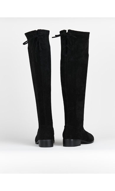 EXTRA WIDE FIT Black Stretch Boots