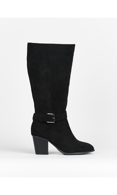WIDE FIT Black Long Boots