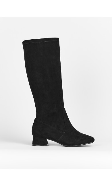 EXTRA WIDE FIT Black Stretch Long Boots