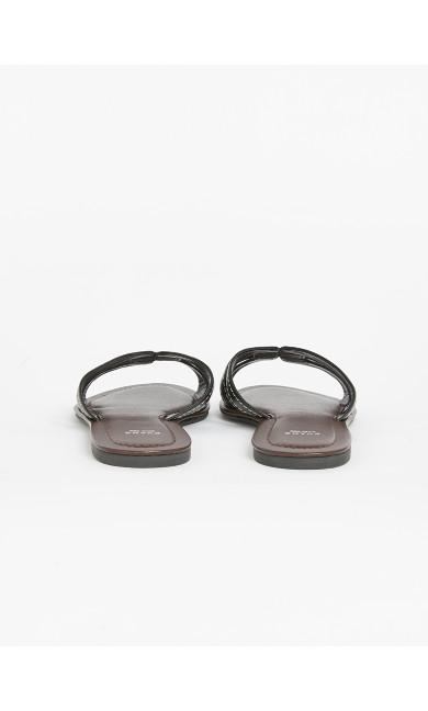 WIDE FIT Black Stitch Sandals