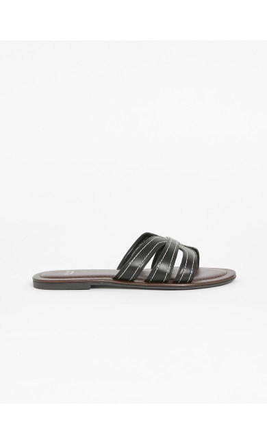 EXTRA WIDE FIT Black Stitch Sandals